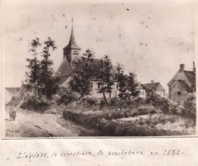 L'église et le cimetière de Viglain en 1882 Origninal main